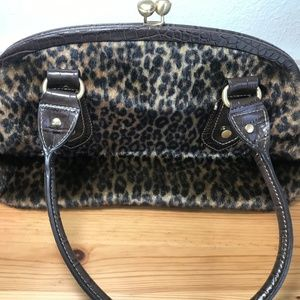 Franco Sarto Cheetah Animal Gold Leather Purse EUC